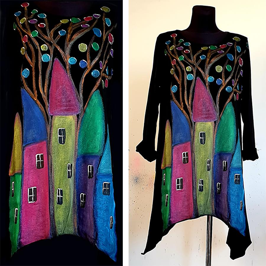 Motivi in poslikave z raznobarvnimi hišami na črni obleki.