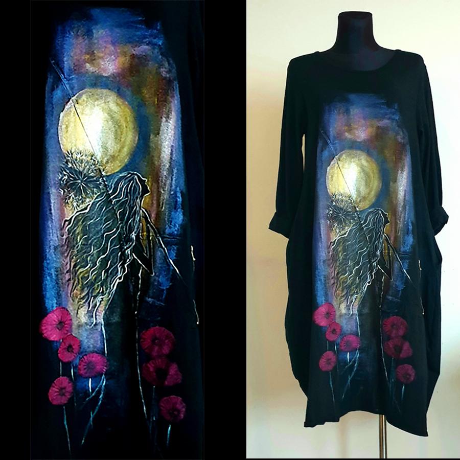 Motiv lune na črni obleki
