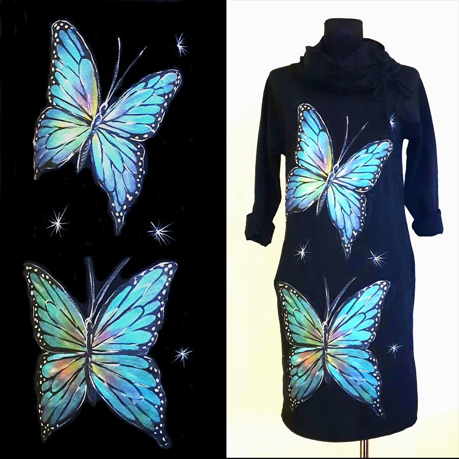 Dva metuljčka v modrih barvah.
