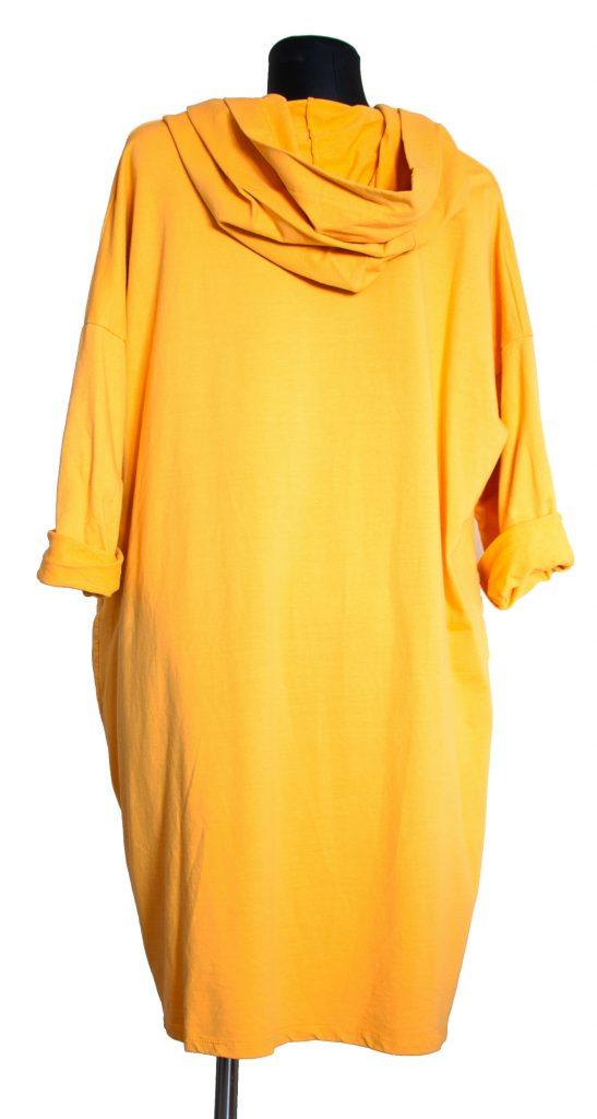 Dolga rumena obleka na pregib.