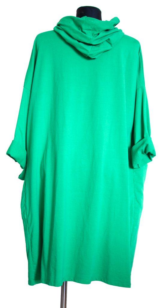 Zelena dolga obleka z zadnje strani.