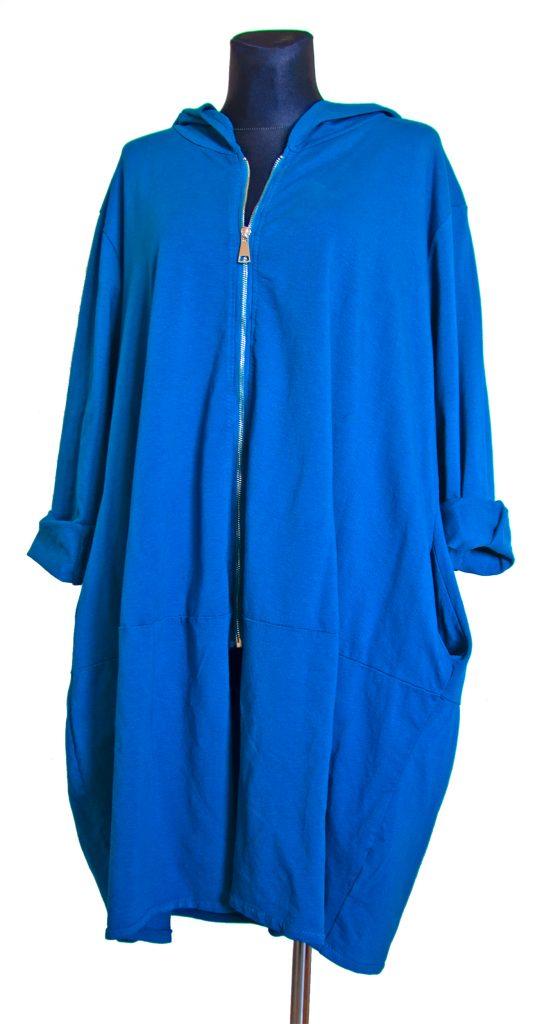 model dolge modre obleke z zadrgo
