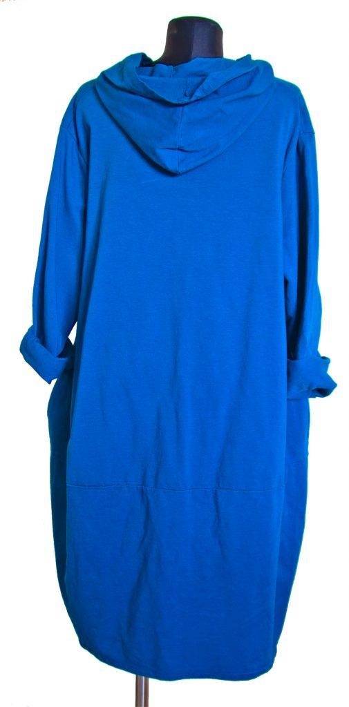 dolga modra obleka z zadrgo iz zadnje strani