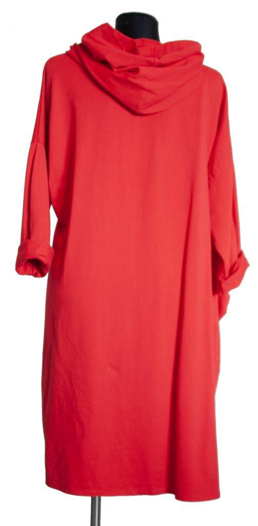 Dolga rdeča obleka s kapuco zadnja stran