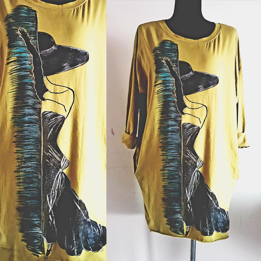 Motivi in poslikave dame s klobukom na rumeni obleki