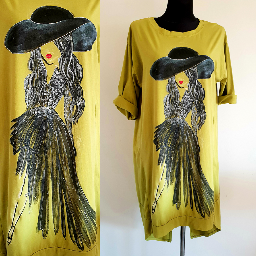 Motivi in poslikave dame s klobukom in iztegnjeno nogo na svetli obleki.