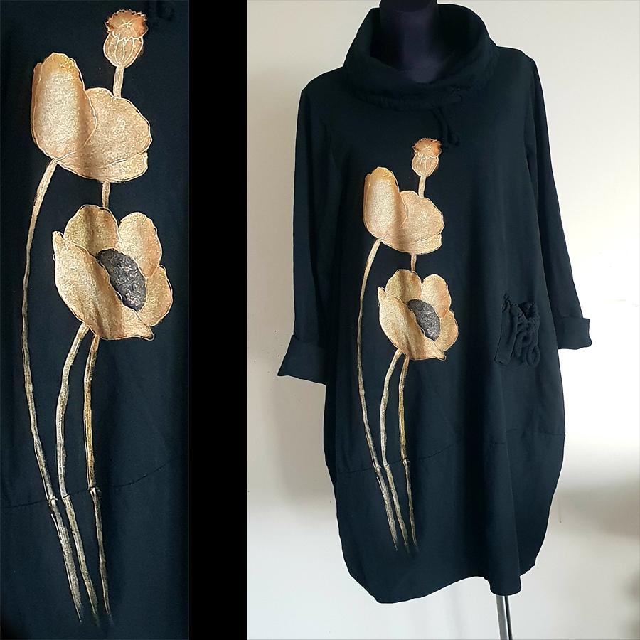 Obleka z zlatimi maki z dvema cvetovoma in enim popkom