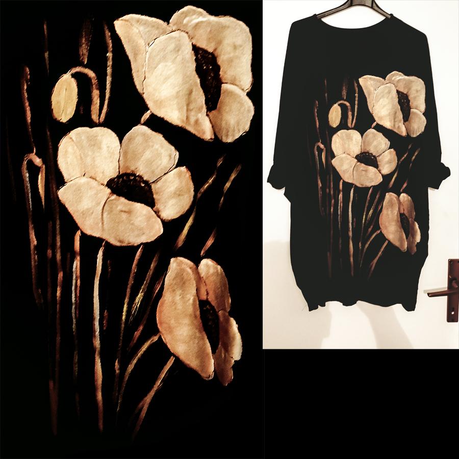 Poslikava črne obleke z motivom zlatih makov