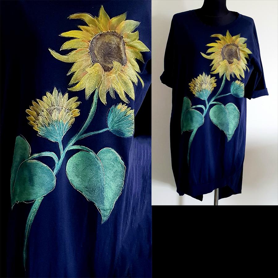 Motvi in poslikave obleke z motivom sončnice