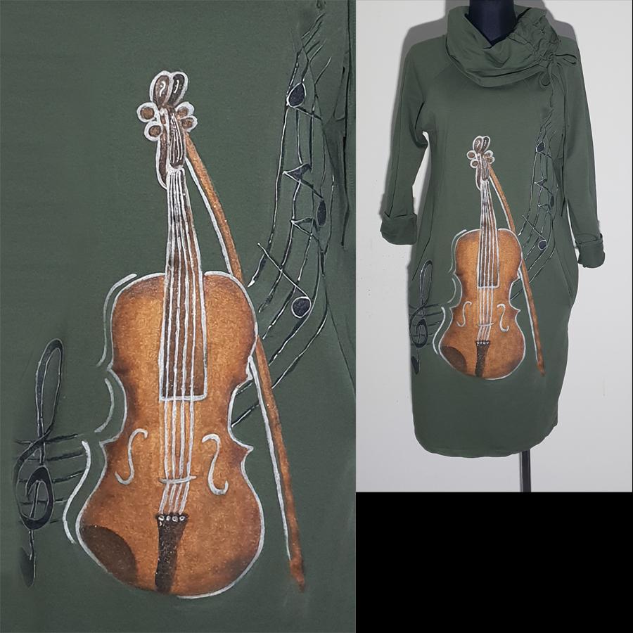 Violina v rjavi barvi z sivo obrobo.